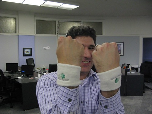 Tony with wrist bands