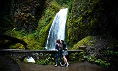 Wahkeena Falls (cavale) Tags: bridge 3 selfportrait green love me nature oregon self portland happy waterfall moss kiss couple rocks sam sigma falls lush 1020mm sigma1020mm 2011 cavale