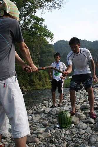 Guiding the suikawari stick