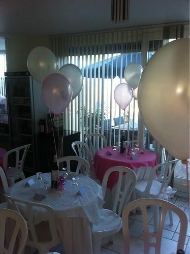 Tafeldecoratie 3ballonnen Zilver, Ivoor en Roze