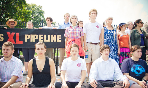 Dan Cannon, Hanna Mitchell, Peter Roquemore, Rachel Aitkens and Kate Kroll Sit-In Against Tar Sands and Keystone XL in Front of the White House