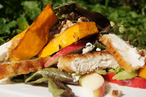 chicken schnitzel salad - summer salad