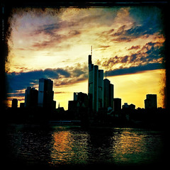 [iPhone] Frankfurt (taytomFFM) Tags: city sunset water clouds skyscraper river frankfurt main cityscapes iphone iphone4 iphoneography