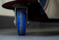 Wheelie (Sixth Lie) Tags: blue shadow reflection dusty wheel lab floor machine dirty chrome spinning scuff nutbolt bluewheel