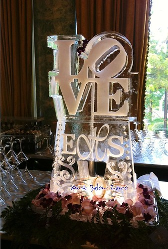 LOVE w Monogram Ice Luge Ice Sculpture
