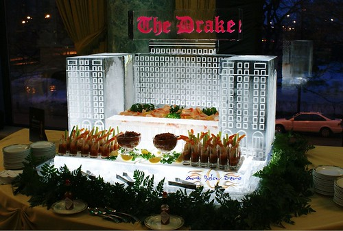 The Drake Hotel Seafood Display  ice sculpture