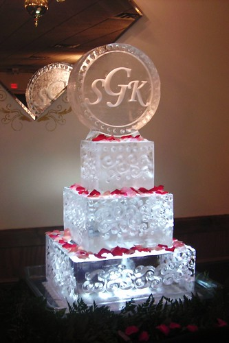 Square Wedding Cake with Monogram ice sculpture