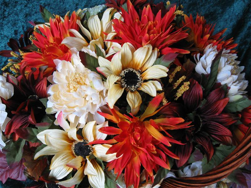 Harvest Centerpiece Floral Basket Arrangement Silk