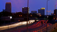 Atlanta: Midtown morning rush (EXPLORED) (StGrundy) Tags: longexposure morning atlanta usa motion architecture ga buildings georgia lowlight nikon highway traffic unitedstates action south headlights midtown explore southern commute rushhour lighttrails bluehour atlanticstation georg