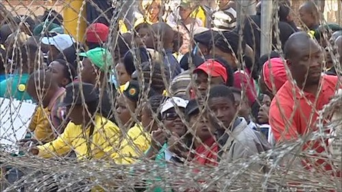 Demonstrations took place outside the ANC Youth League disciplinary hearings on August 30, 2011. Julius Malema, the president of the ANCYL, was the subject of the hearing. by Pan-African News Wire File Photos