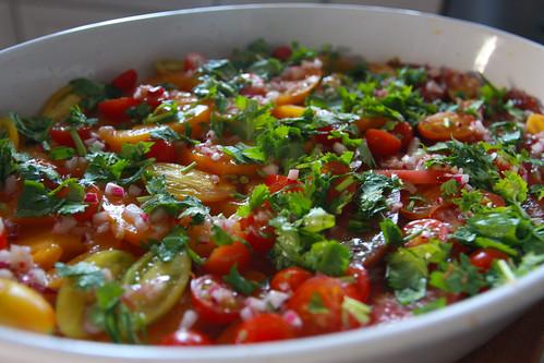 tomatoes with coriander vinaigrette