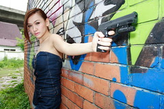 Tomb Raider theme (khengsiong) Tags: portrait beauty gun wideangle asianbeauty