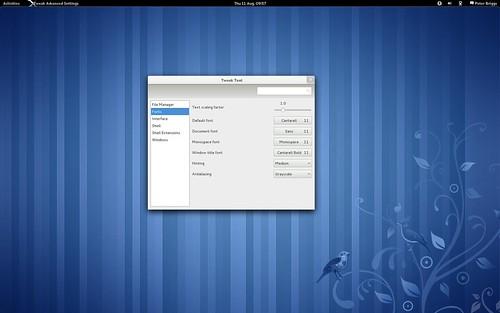 "Fedora 15: gnome-tweak-tool: ""Fonts"" tab"