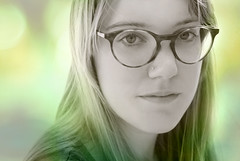 I'll Take You to That Special Place (heroethic) Tags: blue iris portrait green girl glasses intense eyes soft place gorgeous dramatic special layer pfpor
