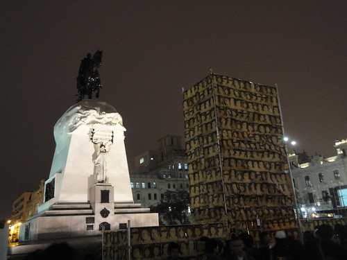 Tower of the Disappeared at Lima's Plaza San Martin