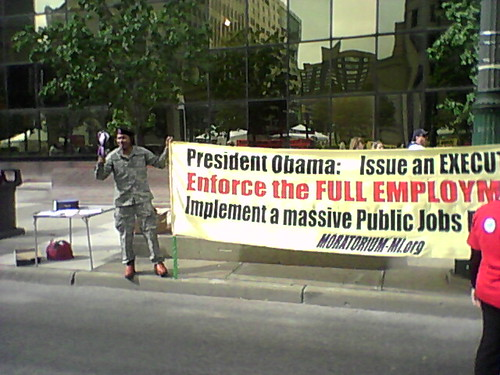 Banner produced by the Moratorium NOW! Coalition for the Labor Day march in Detroit urging President Barack Obama to issue an executive aimed at enforcing the full employment act. Obama would speak later the same day. (Photo: Abayomi Azikiwe) by Pan-African News Wire File Photos