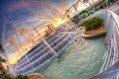 EPCOT - Fountain of Nations (Todd Hurley Photography) Tags: sunset orlando epcot florida disney fisheye hdr themepark futureworld photomatix fountainofnations