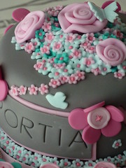 Fabric Flowers Cake (Strawberry Lane Cake Company) Tags: pink roses food london cake cupcakes baking buttons surrey desserts fondant carshalton sugarpaste fabricroses layercakes bespokecakes strawberrylanecakecompany