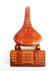 Bike Bag and Cross Stitch Saddle (.Kara.) Tags: leather bike bicycle carved saddle brooks karaginther