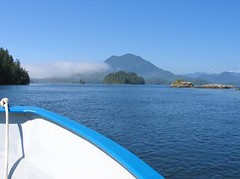 Tofino, Vancouver Island, Canada (Pixmac_in) Tags: summer sun canada mountains nature sunshine weather vancouver landscapes daylight boat woods seasons horizon lakes bluesky nobody vancouverisland tofino vegetation daytime summertime boattrip forests naturalworld exteriors mountainpeaks summits tipofthehills
