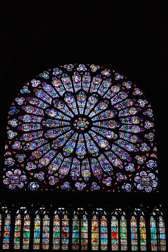 Rose window inside Notre Dame