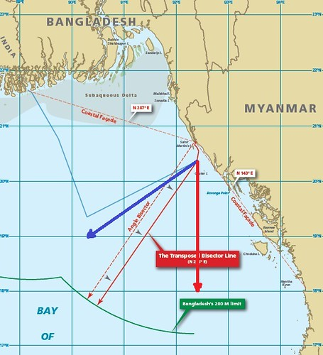 Fig: ITLOS Judgment: (Bangladesh Claim's in blue color line, Myanmar's claim's in red color line and ITLOS Judgment in Brown color line): Image Courtesy: The Daily Star