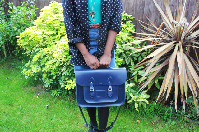 navy blue leather satchel