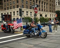 Patriotic Harley-Davidson Motorbike Riders, Lower Manhattan, New York City (jag9889) Tags: city nyc ny newyork tower construction memorial remember manhattan flag worldtradecenter 911 progress patriotic flags harley motorbike american wtc hd hog davidson groundzero riders 9112001 10thanniversary 91101 2011 freedomtower 10048 zip10048 1wtc y2011 wtcprogesscom jag9889