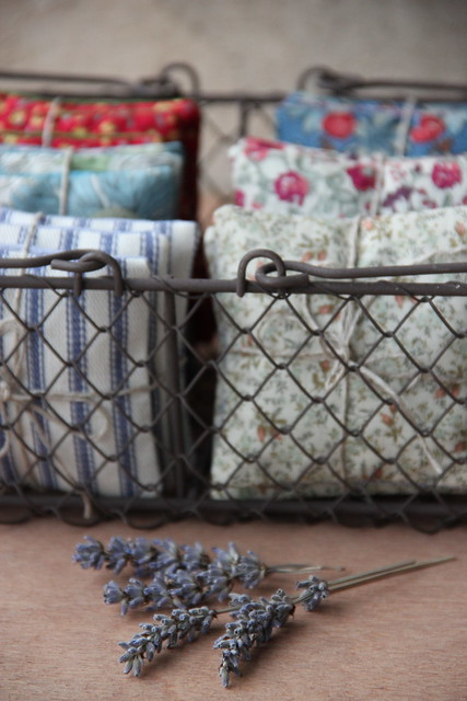 a basket full of lavender sachets