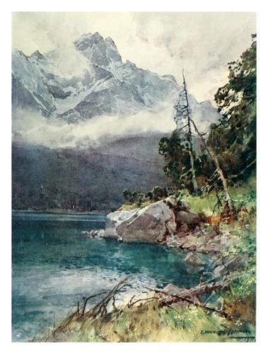 007-Eibsee el pico mas alto de las tierras Bavaras-Germany-1912- Edward y Theodore Compton ilustradores
