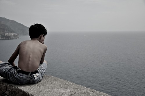 Boy Sitting on Ledge by remainsimple