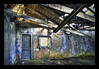 glad they still have curtains (biancavanderwerf) Tags: door old blue roof green abandoned window dutch moss paint factory chaos decay urbanexploration curtains bianca beams dreamcatcher avis collapsed urbex balken