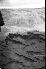 Gulfoss Outcrop (RTMoynihan) Tags: white black cold film 35mm canon eos iceland 300 ilford fp4 loaded bulk ilfordfp4 agfarodinal film:brand=ilford film:iso=80 film:name=ilfordfp4125 developer:brand=agfa developer:name=agfarodinal filmdev:recipe=6907