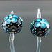 Single Bead : Black Blue Flower Blossom