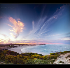 End of the day... (Chantal Steyn) Tags: ocean africa travel pink sunset panorama seascape tourism beach water clouds landscape southafrica coast sand nikon waves pastel tripod filter vegetation polarizer scape westerncape d300 arniston gnd nohdr waenhuiskrans kassiesbaai vertorama 1685mm