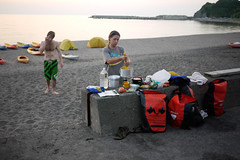 Camping on the beach in front of Blue Holic Kayaks near Otaru, Hokkaido, Japan
