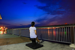 Loneliness (Kenny Teo (zoompict)) Tags: blue light sunset sea sky seascape tourism water beautiful night canon wonderful lens landscape photo yahoo google scenery photographer waterfront view walk tourist best kenny  zoompict singaporelowerpiercereservoir