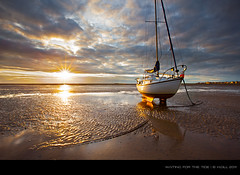 Waiting For The Tide [Explored #30] (H4RSX) Tags: uk sunset clouds reflections chains sand westkirby yatch tideout canon1635mm 5dmkii