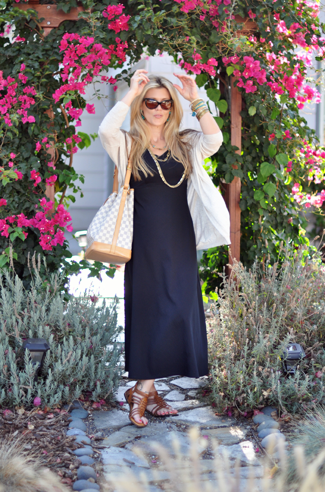 black maxi dress and cardigan-bangles_bracelets_vintage necklaces and chains_cat eye sunglasses