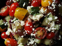 Greek Salad (ComeUndone) Tags: cheese tomato dill salad cucumber olive oliveoil parsley feta bellpepper redonion kalamata herbesdeprovence simplyrecipes