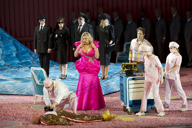 Alan Oke as J.Howard Marshall, Eva-Maria Westbroek as Anna Nicole, Gerald Finley as Stern in Richard Jones' Anna Nicole. The Royal Opera season 2010/11http://www.roh.org.uk/whatson/production.aspx?pid=13802&claim_session=1 Photo by Bill Cooper