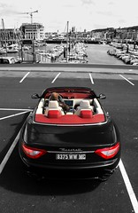 Maserati GranCabrio (Marc Kleen) Tags: ocean red summer vacation bw sun white black france colour sc beautiful car canon photography grey harbor soleil spider vakantie amazing hp italian europe italia shot style sunny spyder atlantic marc stunning friendly gran editing normandie frankrijk pk gt cabrio supercar colouring v8 maserati coup owner sportscar stylish 2010 horsepower itali italiano cabriolet granturismo oceaan atlantische normandi fecamp sportive kleen fecamps selectif grancabrio marckleen