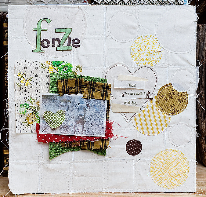 fabric and sewing scrapbook layout for Fiskars
