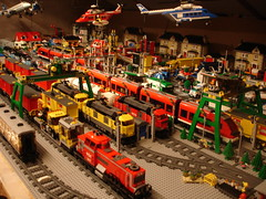 My Lego City with track area (LegoSjaak) Tags: city train layout town track lego cargo stadt bahn stad trein spoor dorp passengertrain 10219 3677 7938 7939