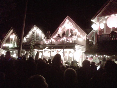 Oak Bluffs cottages fully lit for Grand Illumination. by arthennessey