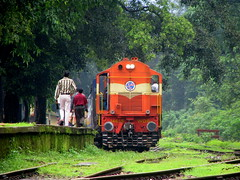 Trains in greenery.... (Jay fotografia) Tags: railroad india tourism nature trekking sightseeing goa greenery karnataka indianrailways dudhsagar irfca diesellocomotives doodhsagar wdg3a wdg4 kulem vigilantphotographersunite