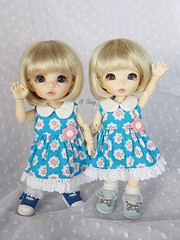 blue flower dress for Lati yellow , Pukifee (BeautifulPinPin) Tags: outfit doll dolls nikki dress lace cloth odeko latiyellow pukifee