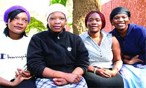 THE late General Solomon Mujuru's daughters from left Kuzivakwashe 22, Nyasha Del Campo 28, Chipo  Makoni 32 and Kumbirai. Mujuru found time to share a lighter moment at their home in Chisipite last week. by Pan-African News Wire File Photos