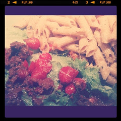 Pasta with backe cherry tomato sauce and salad