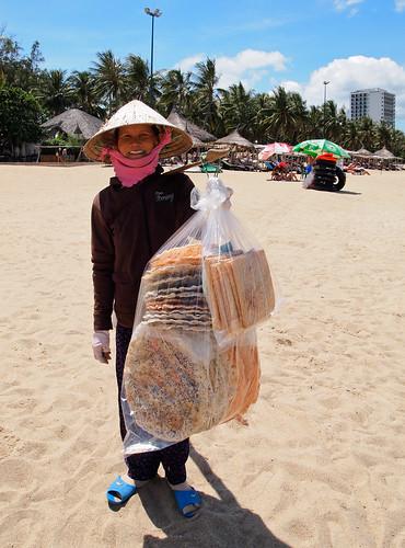 Vendedora de tostas de coco, mango... mmmm...